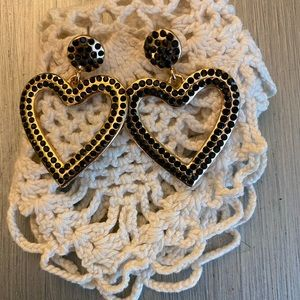 Express black rhinestone gold heart earrings